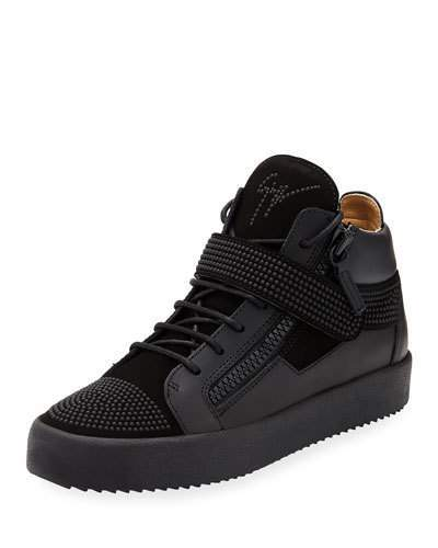 Giuseppe Zanotti Men's Double-Zip Studded Mid-Top Sneakers, Black