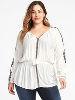 Old Navy Embroidered Cinch-Waist Plus-Size Blouse