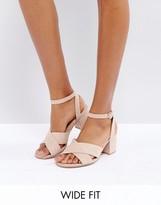 London Rebel Wide Fit Mid Block Heel Sandals