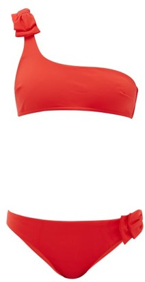 Zimmermann Zinnia Bow One-shoulder Bikini - Womens - Red