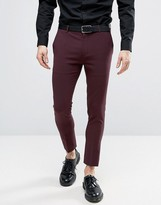 Asos Extreme Super Skinny Crop Smart Trousers In Burgundy