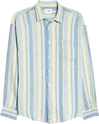 NN07 Deon 5196 Slim Fit Stripe Button-Up Linen Shirt