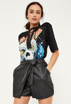 Missguided Black Faux Leather Tie Waist Wrap Skort