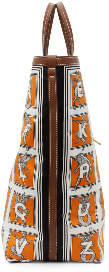 Thumbnail for your product : Burberry White & Orange Mythical Alphabet Silk Tote