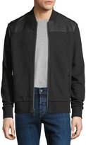 Michael Kors French Terry Bomber Jacket with Leather Trim