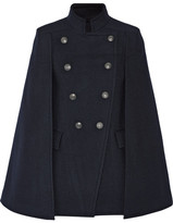 Pierre Balmain Double-breasted Felt Cape - Midnight blue