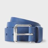 Paul Smith Men's Sky Blue Punched Hole Leather Belt
