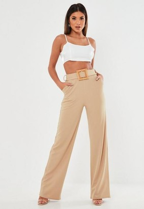 Missguided Stone Crepe Wooden Belt Straight Leg Pants
