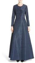 Carolina Herrera Women's Floral Button Silk A-Line Gown