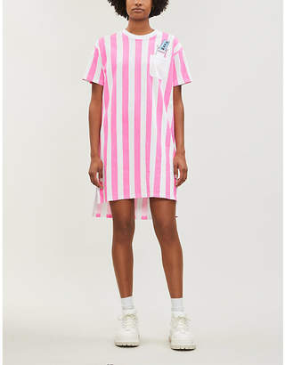 Mini Cream Striped oversized cotton-jersey T-shirt dress