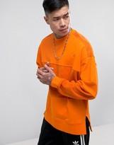 Asos Oversized Longline Sweatshirt With Towelling Cut & Sew