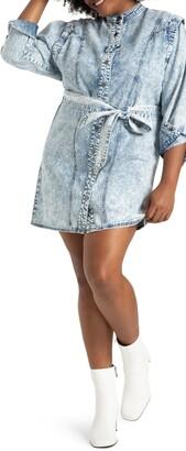 ELOQUII Acid Wash Long Sleeve Denim Utility Dress