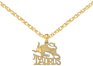 14K Yellow Gold Engraved Block Taurus Charm with 18-inch Cable Rope Chain by Versil