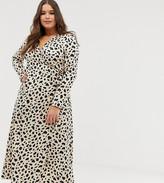 Asos DESIGN Curve wrap maxi dress in leopard print