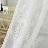 Yiwant Sheer Curtains Leaf Embroidery Rod Pocket Curtains, Door Window Balcony Tulle Room Divider , 54 inchs Width x 84 inchs Length, 2 Panels, White, Style # 1001-1048