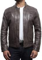 Brandslock Men's Leather Biker Jacket Retro Vintage Iconic Style