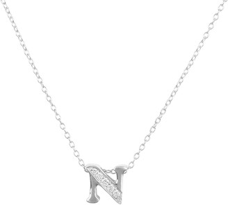 N. Diamond Initial Letter Pendant Necklace Silver