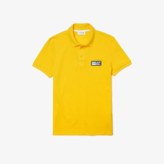 Lacoste Men's Slim Fit Solid Cotton Pique Polo With Badge