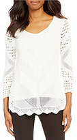 Investments 3/4 Sleeve Crochet Sweater