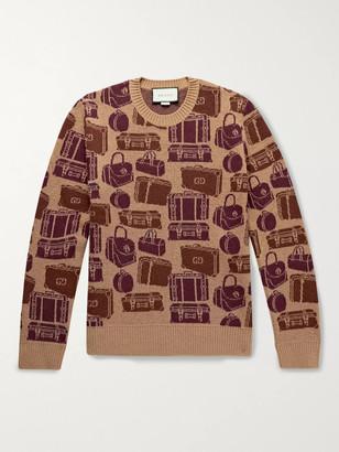 Gucci Logo-Jacquard Wool Sweater - Men - Brown
