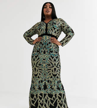 Goddiva Plus embellished plunge neck maxi dress in emerald green