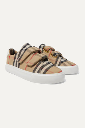 BURBERRY KIDS Ages 4 - 11 Leather-trimmed Checked Canvas Sneakers