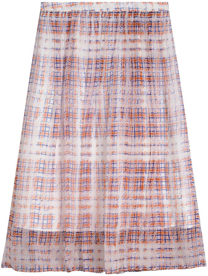 Burberry Scribble Check Print Silk Skirt