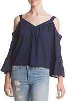 XOXO Women's Cold Shoulder Ruffle Top