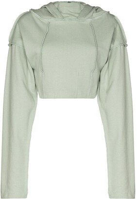 Danielle Guizio Cropped Fitted-Style Hoodie