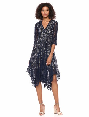 Taylor Dresses Women's Elbow Sleeve lace midi Dress