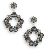 Azaara Vintage Montana & Black Diamond Swarovski Crystal Silverplated Floral Drop Earrings