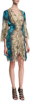 Roberto Cavalli 3/4-Sleeve Mixed-Print Dress, Brown/Turquoise