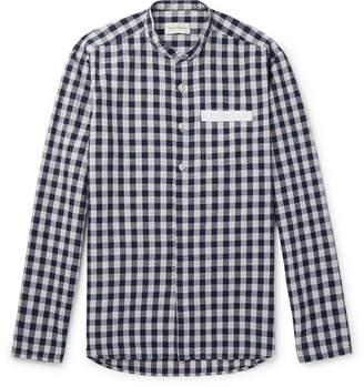 Oliver Spencer Hatch Grandad-Collar Checked Cotton And Linen-Blend Shirt