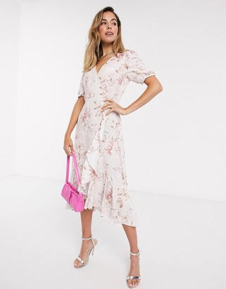 Forever New wrap tie midi dress in ivory floral print