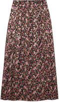 Vanessa Seward Farida Pleated Floral-print Silk-blend Muslin Midi Skirt - Merlot