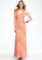 Bebe Striped V-Neck Maxi Dress