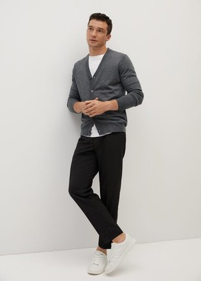 MANGO MAN - 100% merino wool cardigan green - S - Men