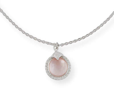 Armenta Rose Mother-of-Pearl & Quarts Pendant Necklace with Diamonds