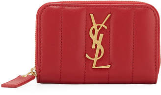 Saint Laurent Vicky Quilted Leather Zip Wallet