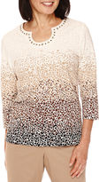 Alfred Dunner 3/4-Sleeve Pebble Print Top