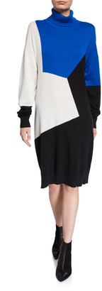 Joan Vass Petite Colorblock Turtleneck Cotton Sweaterdress