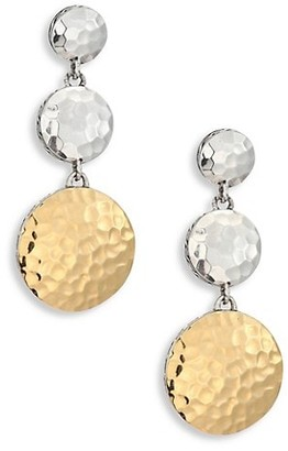 John Hardy Dot Hammered 18K Yellow Gold & Sterling Silver Triple Drop Linear Earrings
