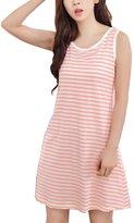 MFrannie Women Colorful Stripe Check Dot Knit Sleepwear Midi Nightgown Orange L
