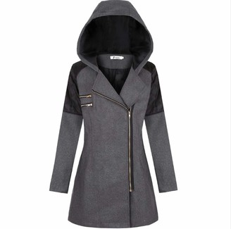 Elonglin Women's Hooded Trench Coat Winter Lapel Wool Duffle Coat Diagonal Zipper Jacket Casual Thick Parka Long Pea Coat Overcoat Outwear Dark Grey XL