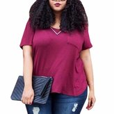 QIYUN.Z Women Girl Short Sleeve Solid Color Shirts Plus Size Cotton Summer Tees Blouse