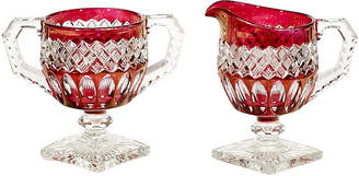 One Kings Lane Vintage Ruby Flash Glass Sugar & Creamer Set - 2-b-Modern - red/clear