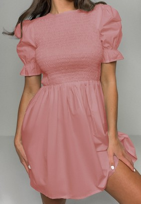 Missguided Blush Shirred Bust Frill Sleeve Dress