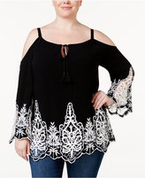 INC International Concepts Plus Size Lace-Inset Cold-Shoulder Top, Only at Macy's