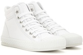 Jimmy Choo Berlin Flat Leather-trimmed High-top Sneakers