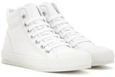 Jimmy Choo Berlin Flat leather-trimmed high-top sneakers
